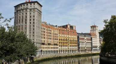 Riverside Buildings in Bilbao, Biscay, Spain