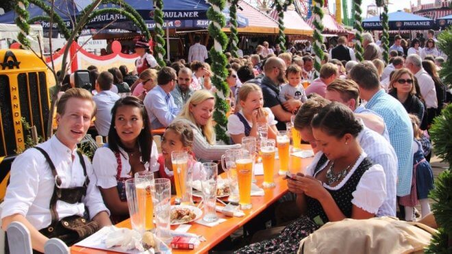 7 Festivals: Oktoberfest - People Sitting in the Beer Garden