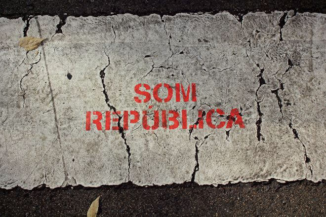 Catalan Independence in Barcelona - On the Crosswalks: We Are a Republic