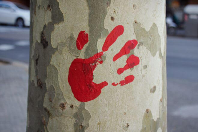 Catalan Independence in Barcelona - Imprint of a Bloody Hand on a Tree