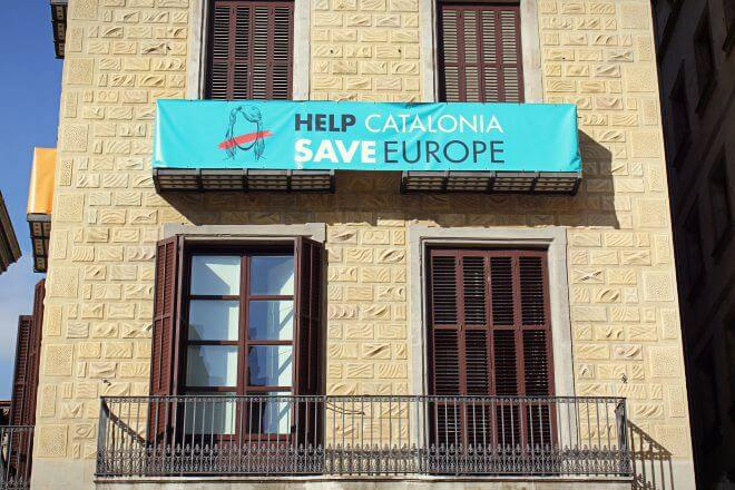 Catalan Independence in Barcelona - Banner: Help Catalonia, Save Europe