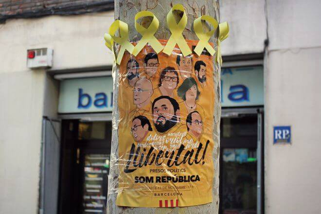Catalan Independence in Barcelona - Tree Altar: Freedom for the Political Prisoners