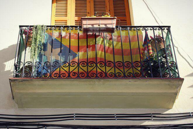 Catalan Independence in Barcelona - Estelada Flag on a Middle-Class Balcony