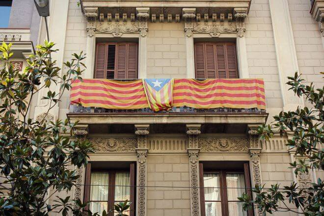Catalan Independence in Barcelona - Estelada Flag on a Upper-Class Balcony