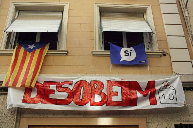 Catalan Independence in Barcelona - Banner: Yes, We Disobey