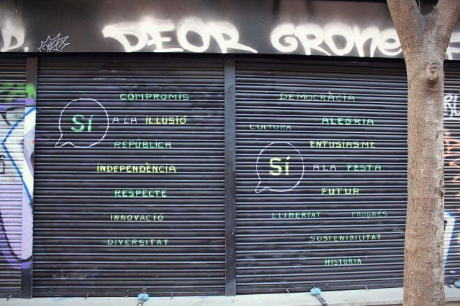 Catalan Independence in Barcelona - The Reasons for Independence on a Shop Shutter