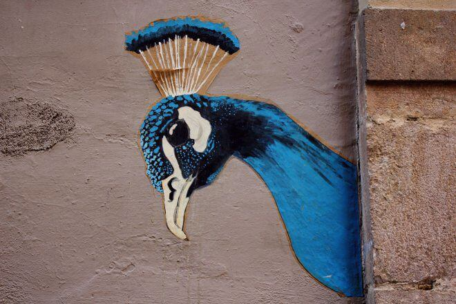 Street Art in Barcelona: Royal Peacock